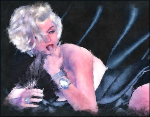 Digital art image of a blonde bombshell,beneath black silk sheets, with a traditional watercolor effect.  This seductive pose and artwork is suitable for a variety of themes from love,wealth,romance