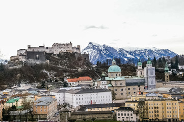 Top view on Salzburg city and Hohensalzburg fortress at winter,