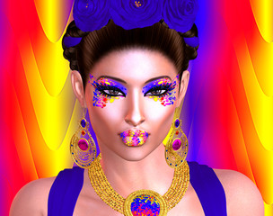 Brilliant colors adorn this image of a woman that was inspired by the great Mexican artist Frieda Kahlo . This is our very own unique digital art design, loaded with bold and vibrant colors