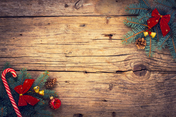 Christmas background with fir and ornaments