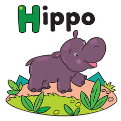 Little funny hippo, for ABC. Alphabet H