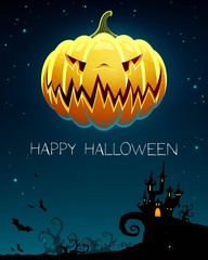 Vector Illustration of a Halloween Background with Scary Castle and Pumpkin