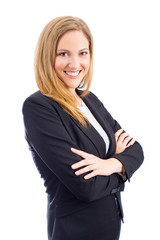 Attractive business woman in suit with arms crossed