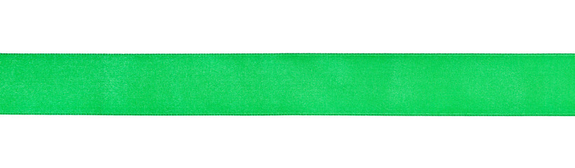 narrow green satin ribbon isolated on white