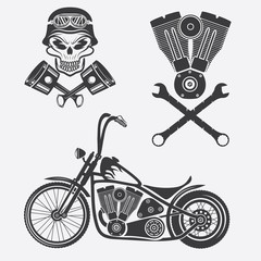 bikers theme labels with motorbike,skull,engine and pistons