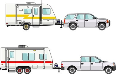 Set of car and travel trailers on a white background in flat