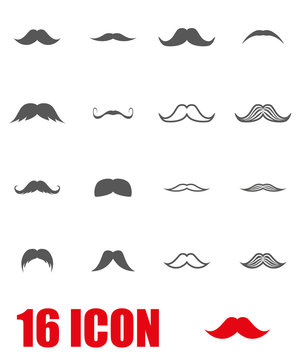 Vector grey moustaches icon set