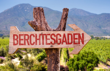 Berchtesgaden wooden sign with winery background