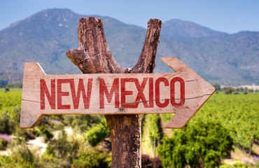 New Mexico wooden sign with winery background
