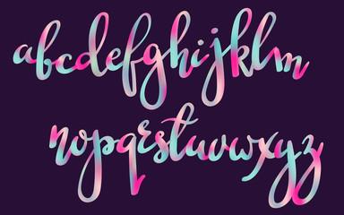 Handwritten brush pen colorful font