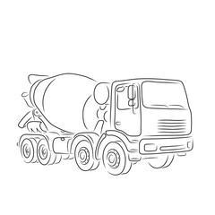 Outline of concrete mixer truck, vector illustration