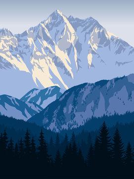 vector winter mountains landscape