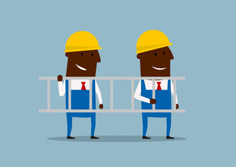 Happy cartoon engineers carrying ladder