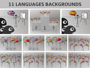 set 11 languages backgrounds