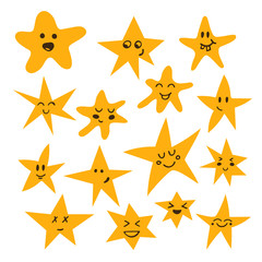 Set of hand drawn cute and funny stars. Cartoon comic style