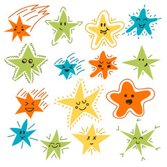 Set of hand drawn funny stars. Cartoon comic style for your desi