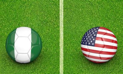 Team balls for Nigeria vs United States soccer tournament match
