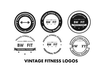 Fitness gym logos and emblems in vintage or retro style . elements perfect  for design work. gym club studio fitness  icons
