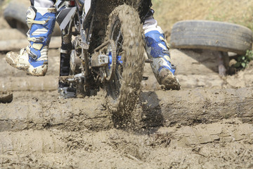 Enduro cross racer on the track