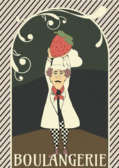 French chef illustration with giant strawberry in a bakery