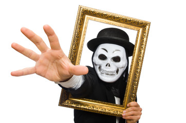 Man with scary mask isolated on white