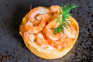 Tapas appetizers shrimp and caviar sauce