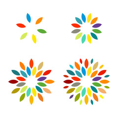 Colorful Sun Flower Star Firework Icon Template