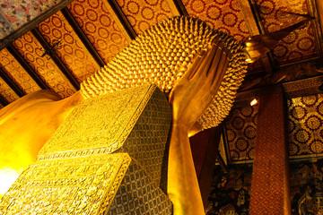 Statue of  The Reclining Buddha, Behind View, Wat Pho, Bangkok,