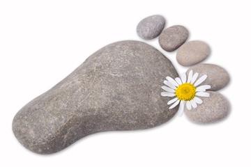 Fußsymbol aus Steinen
