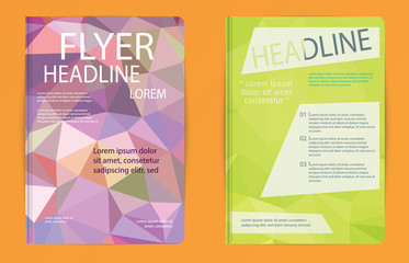 Triangle design vector template layout for magazine brochure fly