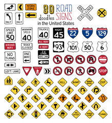 Vector set of cartoon road signs in the United States.