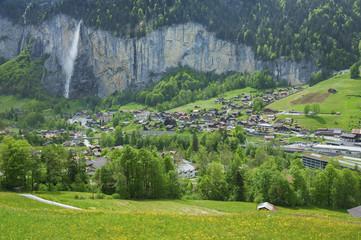 Famous village Lauterbrunnen in swiss alps