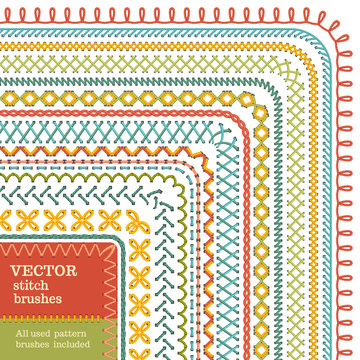 Vector set of seamless high detailed stitch brushes.