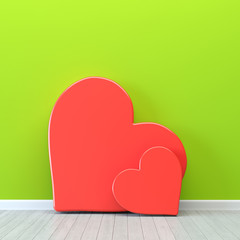 Hearts over green wall