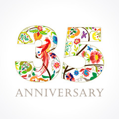 35 anniversary ethnic numbers. The template logo of 35th birthday in vintage patterns with flowers and the bird of paradise.