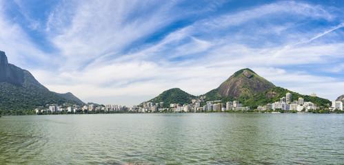 Rio de Janeiro Brazil scenic landscape panorama at Lagoa Rodrigo da Freitas lagoon