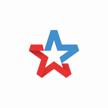 America Star Red Blue National initial M Logo Icon
