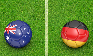 Team balls for Australia vs Germany soccer tournament match