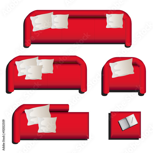 Furniture Top View Set 27 For Interior Vector Illustration Red