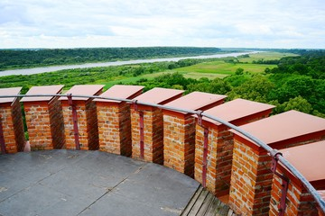 View to the Nemunas river from Raudone old red bricks castle tower