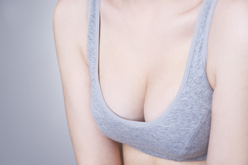 Female breast in a sports bra