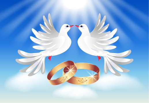 Card with wedding rings and two doves