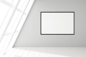 Fototapete - Blank frame in an empty white loft interior