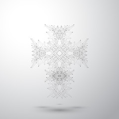 Religious cross on the gray background. Connected lines with