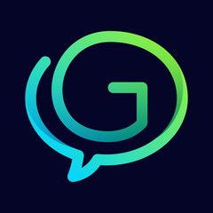 G letter with speech bubble line logo.