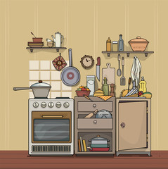 Vintage, rustic, cozy kitchen, with various utensils and items