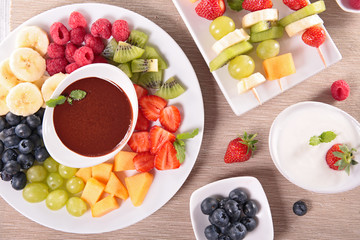 assorted fruit with chocolate dip