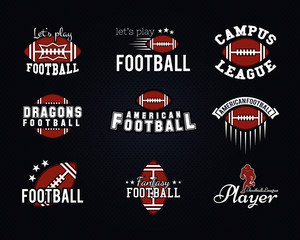 American football team, college badges, logos, labels, insignias