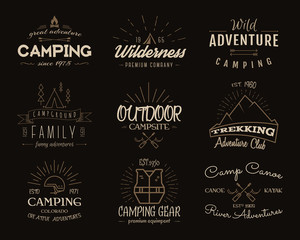 Set of retro badges and label logo graphics. Camping emblems and