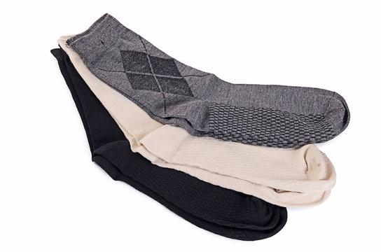 Man's socks isolated on white background